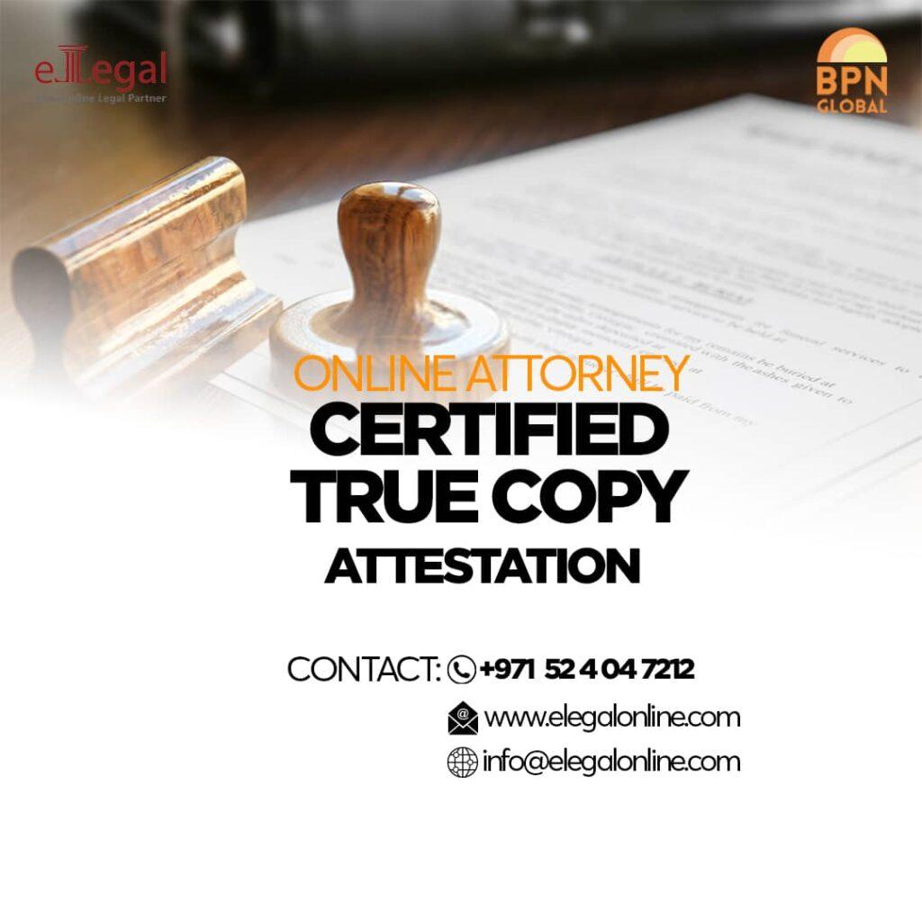 Certified true copy attestation